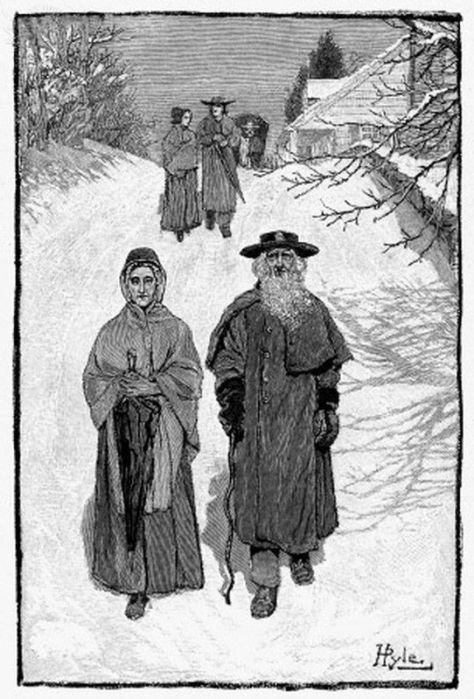 DUNKERS AT EPHRATA, 1880. - German Baptists on their way to the meeting at Ephrata, Pennsylvania. Wood engraving after Howard Pyle, c1880.