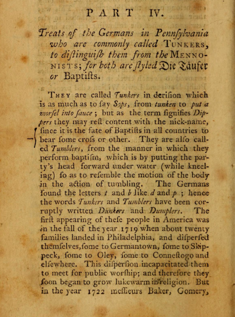 Excerpt from a 1770 piece by Morgan Edwards in History of the American Baptists